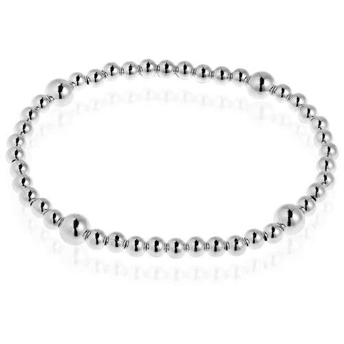 Sleek Elastic Bead Link .925 Sterling Silver Bracelet 0