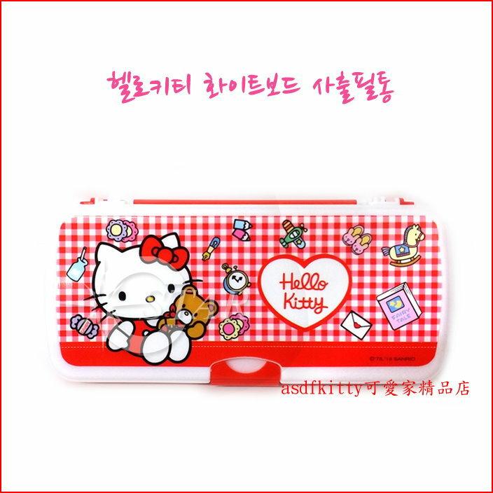 asdfkitty可愛家☆KITTY紅格硬盒雙面鉛筆盒-含小白板跟白板筆.小板擦-韓國製