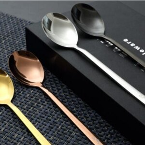 美麗大街【D106052104】304 不銹鋼餐具韓式鈦金勺子創意實心筷子玫瑰金勺禮品(一隻一入)