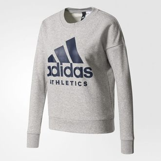 Adidas Athletics Sport ID 女裝 上衣 長袖 圓領 棉質 大學T LOGO 灰 【運動世界】 S97068