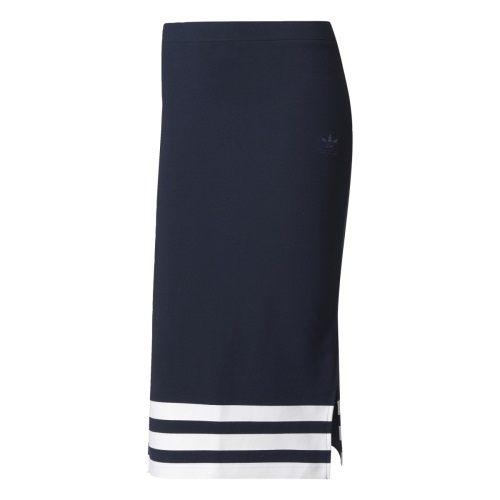ADIDAS ORIGINALS SKIRT 女裝 長裙 及膝裙 棉質 彈性纖維 休閒 舒適 深藍 【運動世界】 BK6051