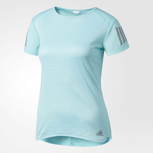 ADIDAS RESPONSE 女裝 短袖 上衣 排汗 慢跑 運動 休閒 湖水綠 【運動世界】 BP7462