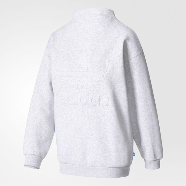 ADIDAS SWEATSHIRT 女裝 長袖 高領上衣 范冰冰 立體LOGO 刷毛 保暖 灰 白 【運動世界】 BK6004