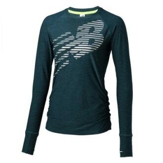 New Balance 女裝 長袖 上衣 圓領 舒適 輕量 藍綠 銀 【運動世界】 WT71212TNH