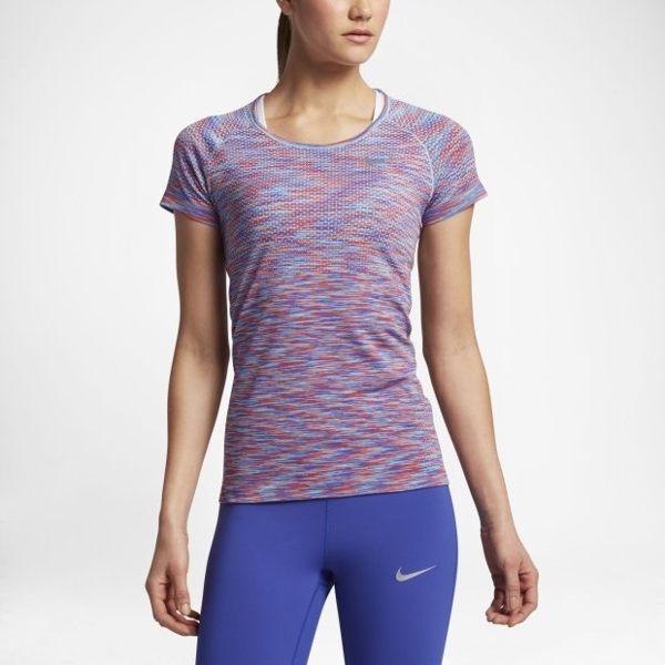 NIKE DRI-FIT KNIT 女裝 短袖 上衣 慢跑 訓練 排汗 舒適 休閒 紅 藍 【運動世界】 831499-853