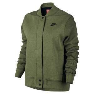 NIKE Tech Fleece Destroyer 女裝 外套 棒球外套 棉質 保暖 軍綠 【運動世界】 835545-387