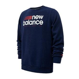 New Balance  男裝 長袖 上衣 棉質 保暖 藍【運動世界】AMT64614PGM