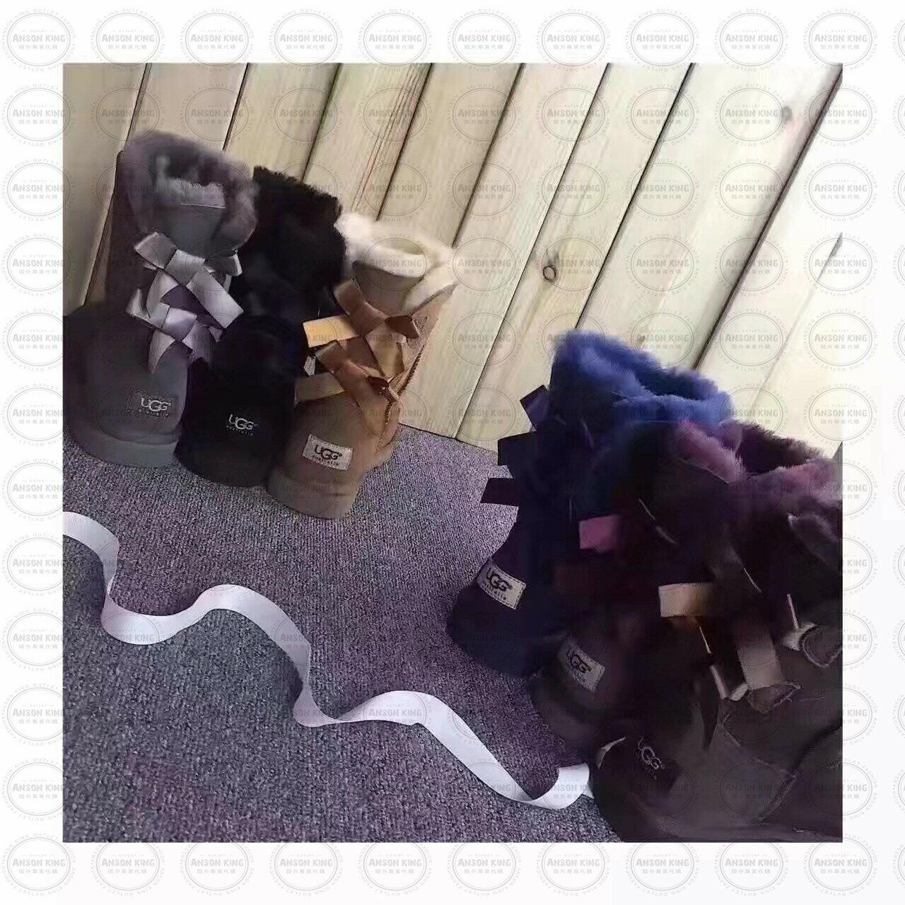 OUTLET正品代購 澳洲 UGG 蝴蝶結3280羊皮毛一體 中長靴 保暖 真皮羊皮毛 雪靴 短靴 深褐色 2