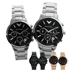Daniel Wang DW-3170 低調時尚三眼日期窗口設計鐵帶錶