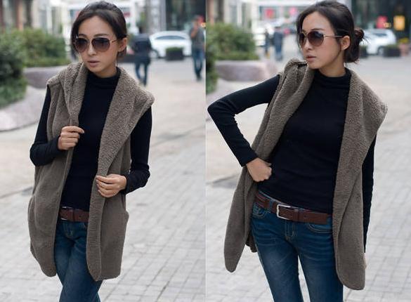 Women Bushy Hoodie Long Vest Coat 3