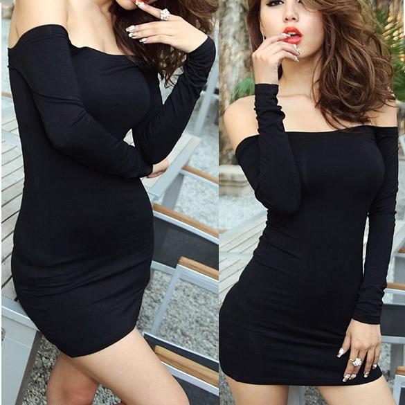 Womens Off Shoulder Stretch Tunic Tight  Fitted Clubwear Party Sexy Mini Dress  Black 1