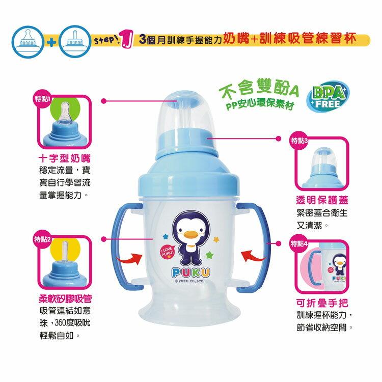 PUKU藍色企鵝 - 奶嘴+訓練吸管練習杯(摺疊握把) 240cc (水藍/粉紅) 2