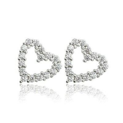 ~925純銀耳環鑲鑽耳飾~ 典雅心型 生日情人節 女飾品73dm38~ ~~米蘭 ~