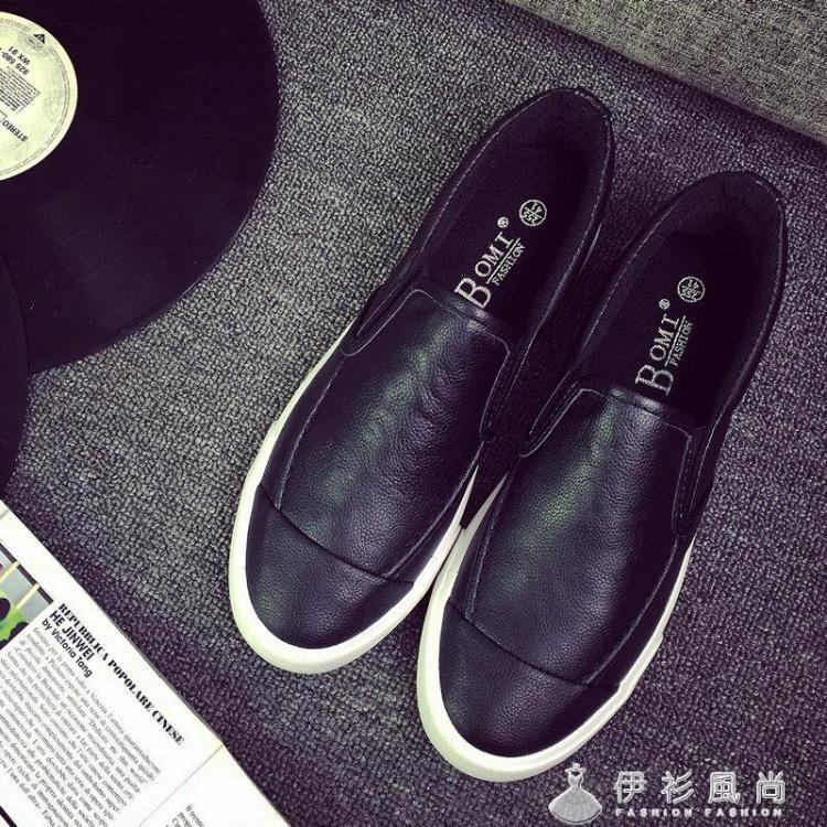 秋天pu黑色潮鞋樂福鞋男一腳蹬透氣懶人鞋皮面低筒男鞋青少年板鞋