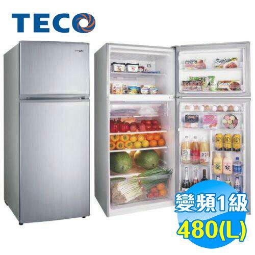 東元 TECO 480公升雙門變頻冰箱 R4871XLS