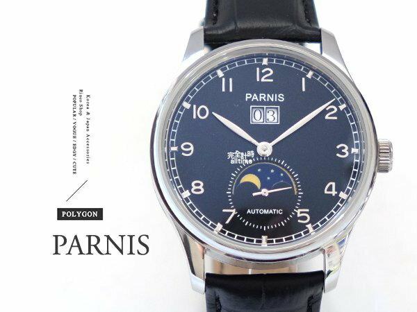 ~完全計時~手錶館│PARNIS月相顯示 日期顯示 自動機械錶PA3085 白鋼 多 父親