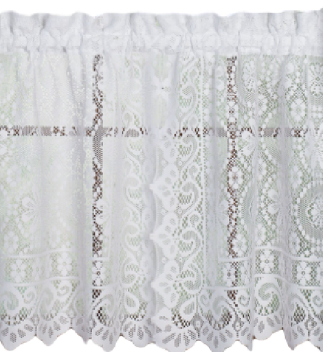 "Hopewell lace 24"" kitchen curtain tier - White"