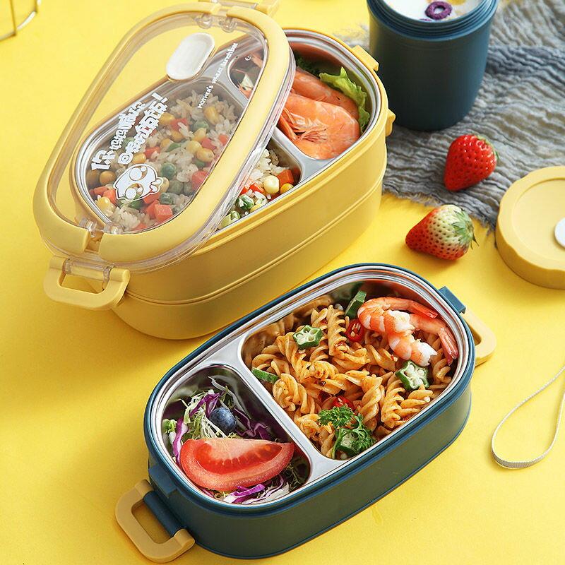 不銹鋼保溫飯盒學生女韓版可愛上班族微波爐便當盒餐盒分格