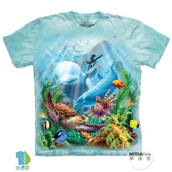 【摩達客】(預購)美國進口TheMountain海洋世界純棉環保藝術中性短袖T恤