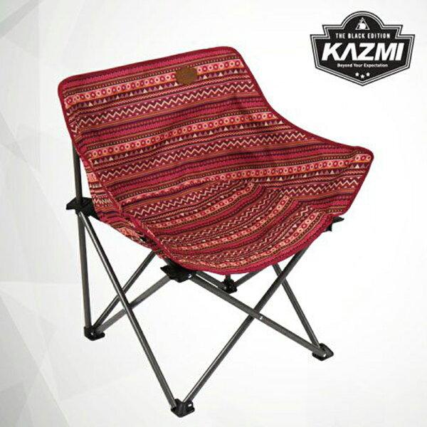 【露營趣】KAZMIK7T3C008WI彩繪民族風休閒折疊椅酒紅色摺疊椅休閒椅月亮椅童軍椅釣魚椅