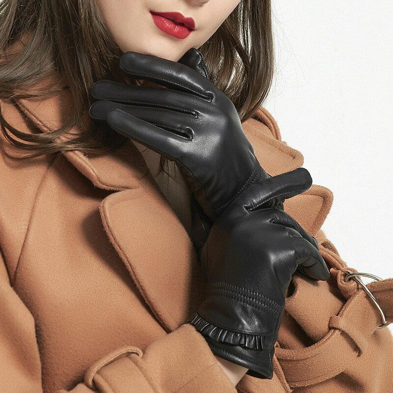 真皮手套保暖手套-綿羊皮加絨褶皺荷葉邊女手套73wm62【獨家進口】【米蘭精品】 2