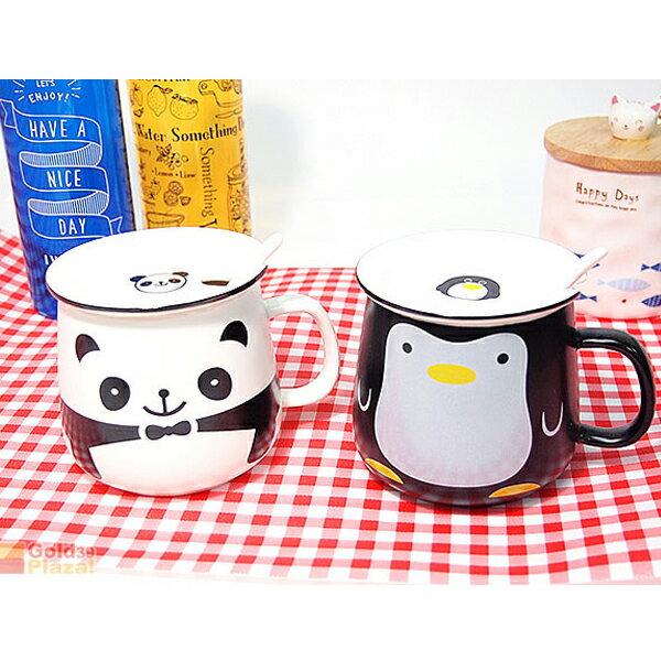 BO雜貨:BO雜貨【SV8219】卡通蓋杯熊貓企鵝動物馬克杯附杯蓋湯匙馬克杯陶瓷杯咖啡杯果汁杯喝水杯牛奶杯