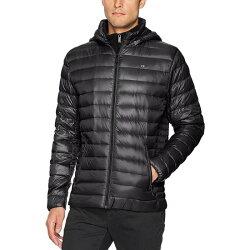 美國百分百【全新真品】Calvin Klein CK 輕量保暖 羽絨 外套 夾克 假兩件 連帽 黑色 S號 I718