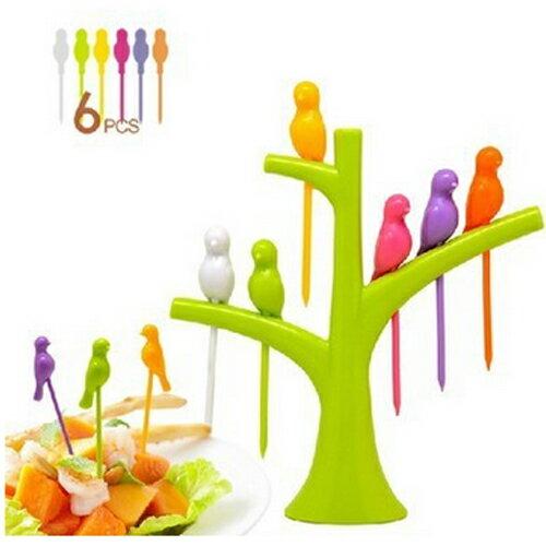潘朵拉綠色生活概念館:【挪威森林】療癒系樹梢幸福鳥水果叉點心叉三明治叉