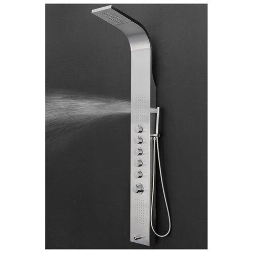 "AKDY 63"" Shower Tower Panel Spa Rainfall Style Waterfall Thermostatic Tub Spout Filler Stainless Steel 3"