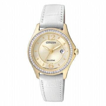CITIZEN星辰FE1142-05P香檳金小吋晶鑽光動能女錶/金色面