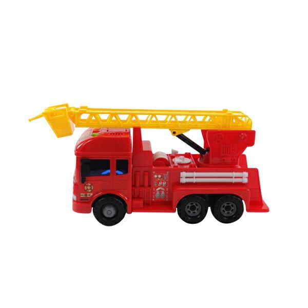 ~888便利購~寶樂星6875聲光仿真慣性消防雲梯車^(中型^)^(超會跑^)^(IC音樂
