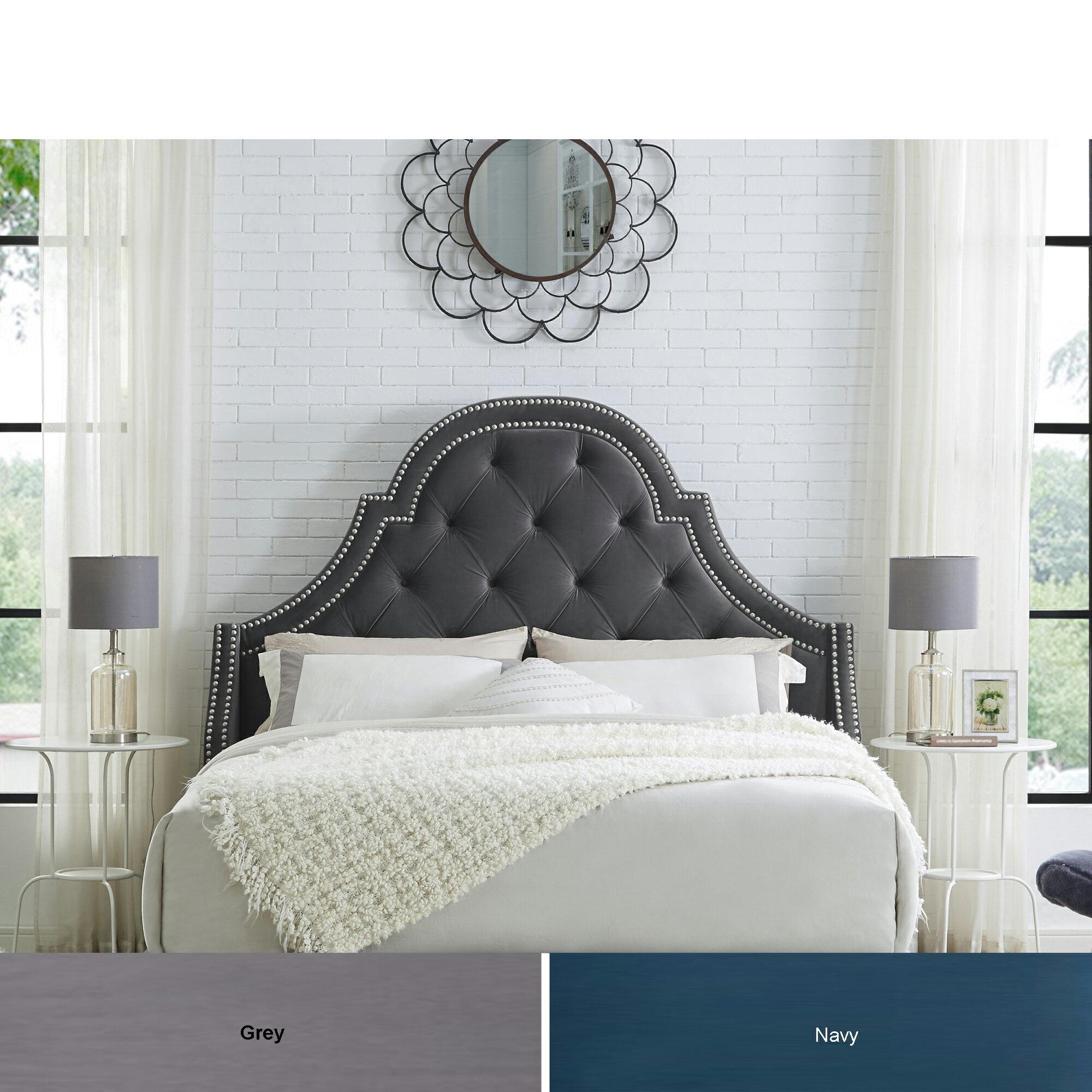 Clarinda Velvet Or Linen Tufted Headboard Queen King Size Upholstered Nailhead