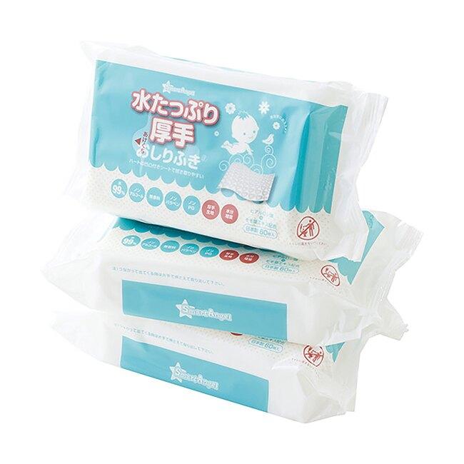 【箱構】日本 Smart Angel 西松屋 加厚60抽濕紙巾(3包入)/1箱10袋 (每箱30包)