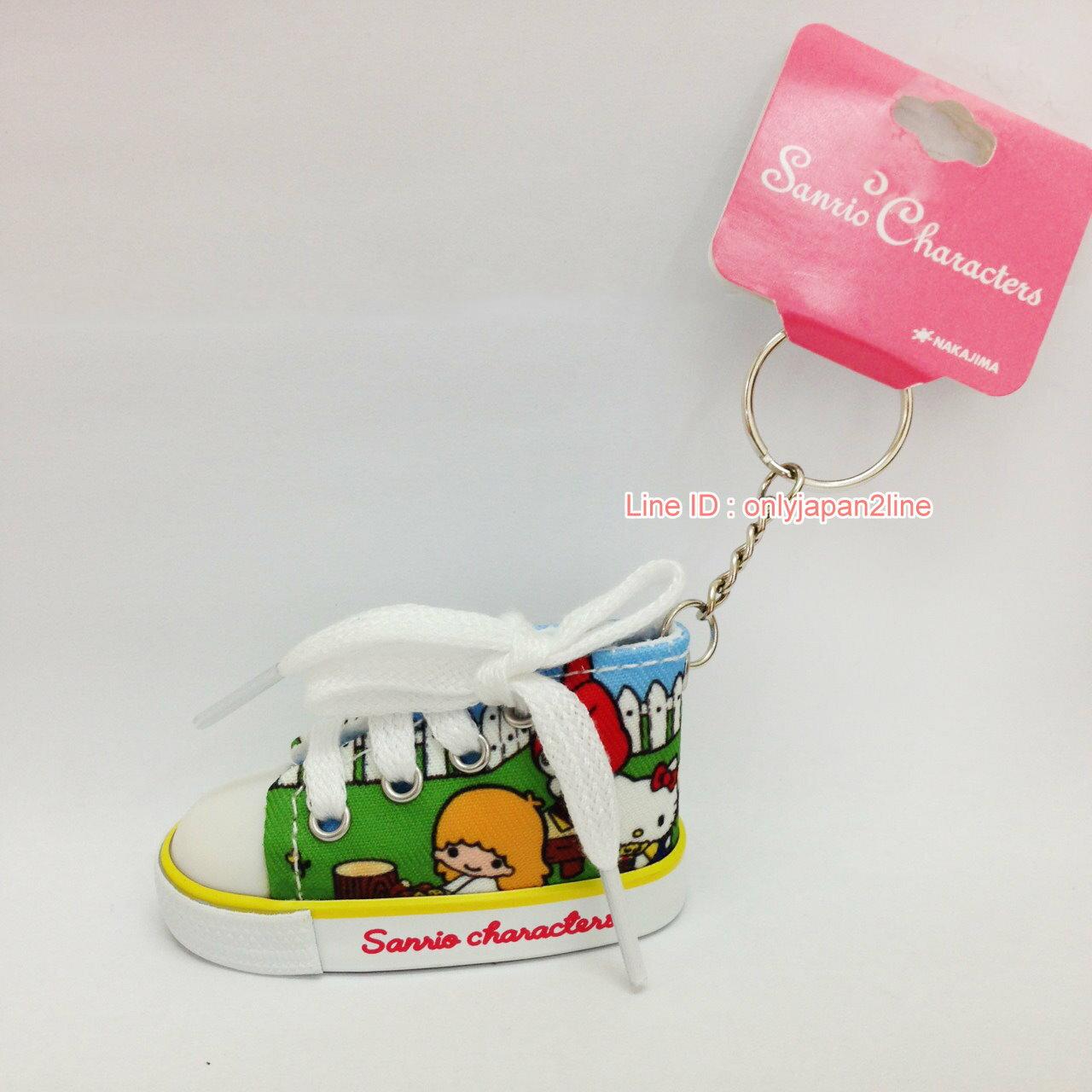 【真愛日本】17022100050迷你帆布鞋鎖圈-MX70年代庭院藍    三麗鷗 Hello Kitty 凱蒂貓   鑰匙圈 鎖圈 吊飾