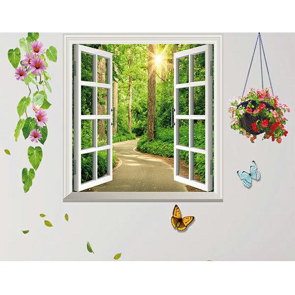 BO雜貨【YV0574】DIY可重複貼時尚壁貼牆貼壁紙壁貼紙創意璧貼窗外景色森林小徑DLX1141