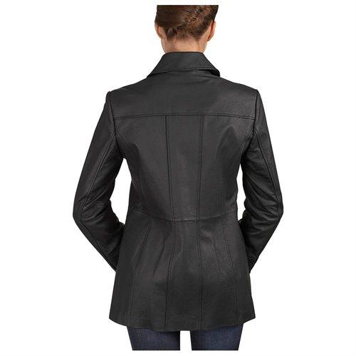"BGSD Women's ""Megan"" Button Front New Zealand Lambskin Leather Car Coat 3"