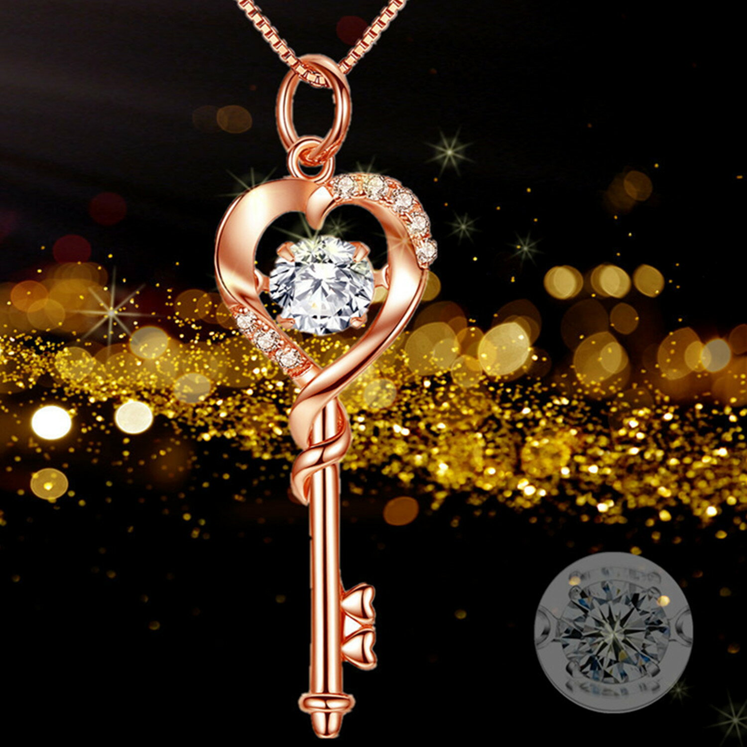 80523649d Mabella Simulated Dacing Diamond Key to Heart Rose Gold Plated Sterling  Silver Key Pendant Necklace,