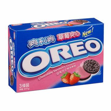 奧利奧OREO巧克力三明治餅乾~草莓口味411g~愛買~