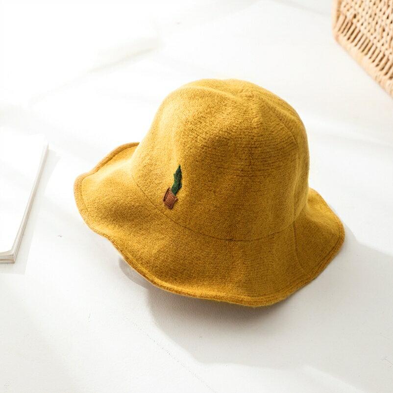 毛茸茸帽子女秋冬網紅仙人掌漁夫帽年新款盆帽學生百搭時尚1入