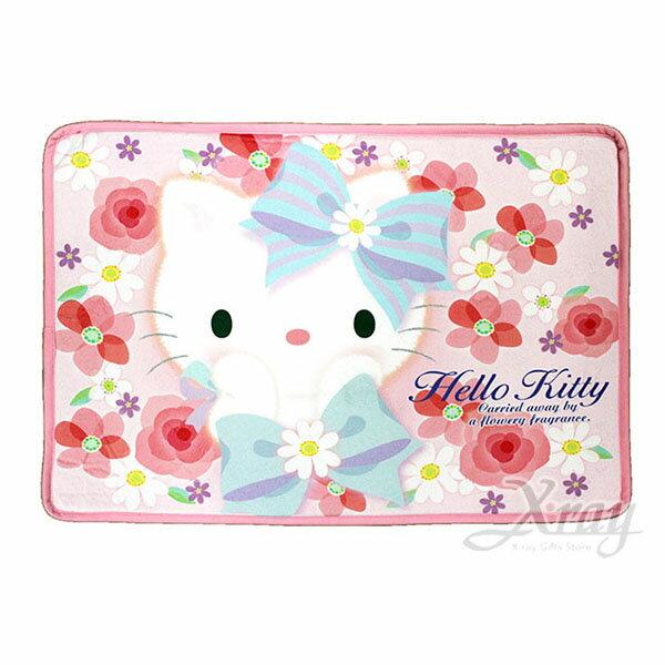 X射線【C381534】Hello Kitty 腳踏墊-花朵,地墊/地毯/止滑墊/浴室防滑墊/腳踏墊/絨毛/坐墊/室外腳踏墊