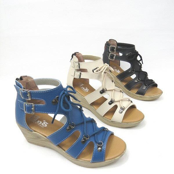 彩虹屋美鞋:*免運*俏麗鞋面鏤空&鞋帶楔型底涼鞋*15-A680(米藍黑)*[彩虹屋]*現+預