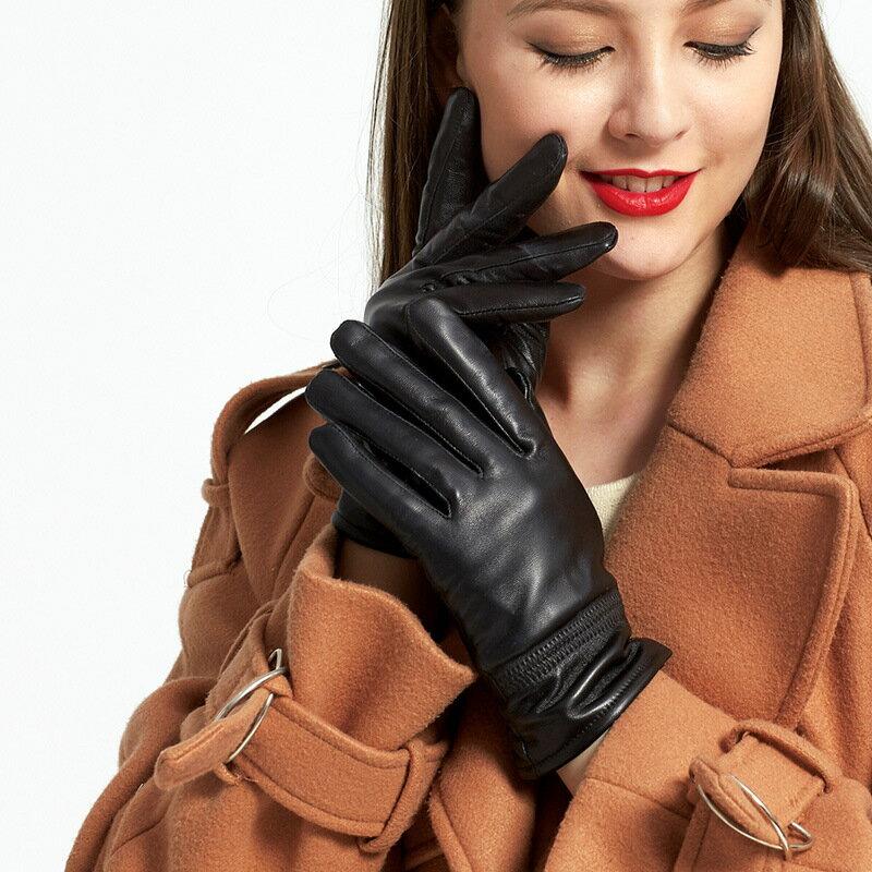 真皮手套保暖手套-羊皮加絨簡約版型女手套73wm58【獨家進口】【米蘭精品】 1