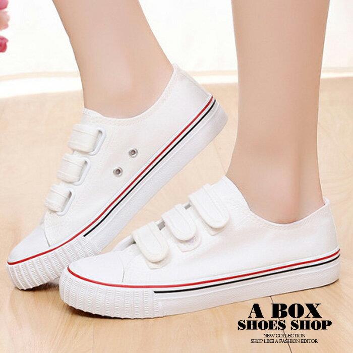【AD896】時尚經典基本款 魔鬼氈魔術貼穿拖 小白鞋 帆布鞋 休閒鞋 2色