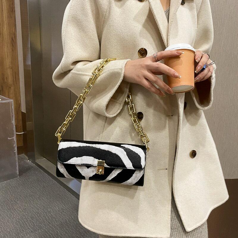 女士包包腋下包上新2020新款潮時尚單肩包包女奶牛紋單肩鏈條包包