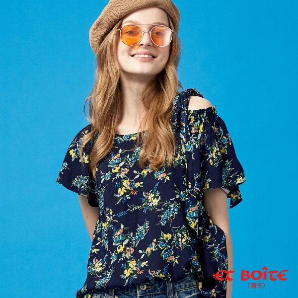 【春夏新品】浪漫花卉荷葉袖綁帶涼感上衣(丈青)-BLUEWAYETBOiTE箱子