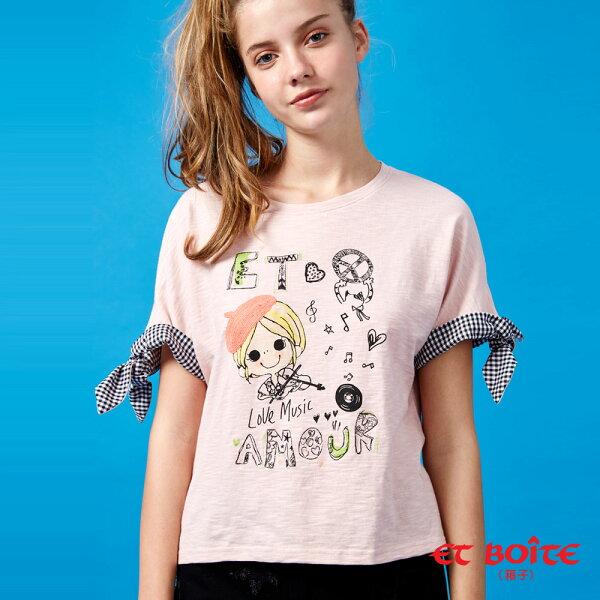 【夏日音樂派對】EtAmour小提琴娃配格綁袖T恤(粉)-BLUEWAYETBOiTE箱子