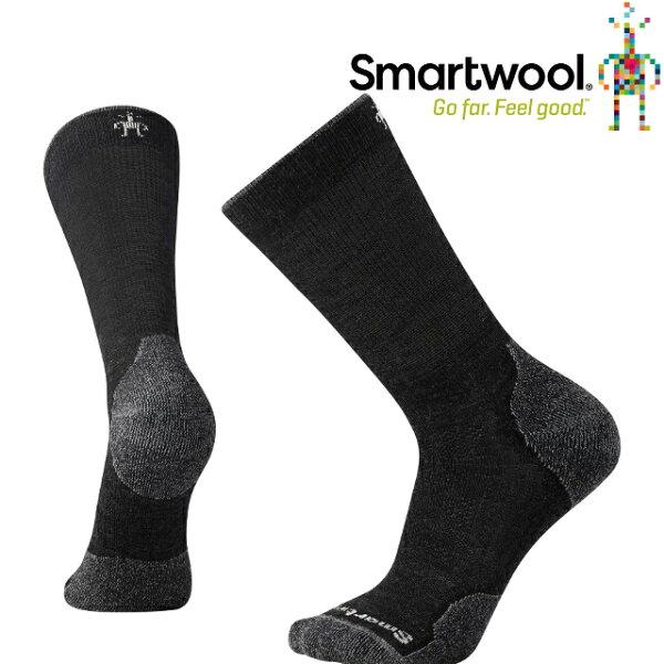 Smartwool羊毛襪排汗襪保暖襪美麗諾羊毛PhD戶外輕量減震中高長襪SW001069003炭黑色