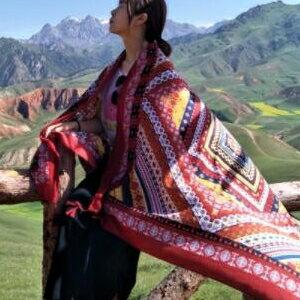 美麗大街【KTW42】民族風披肩棉麻超大防曬旅遊拍照流蘇圍巾流蘇披肩