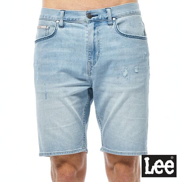 Lee牛仔短褲-男款-淺藍色水洗
