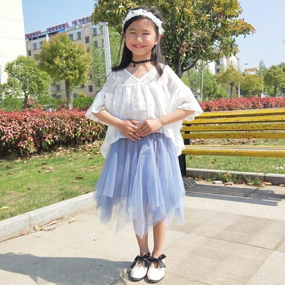 女童短裙 兒童短裙夏季新款女童不規則中長裙洋氣蓬蓬裙親子半身裙紗裙 BBJH